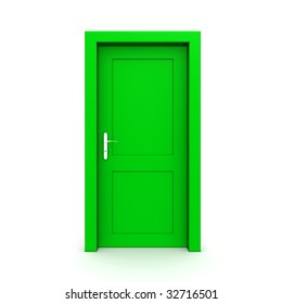 single green door closed - door frame only, no walls