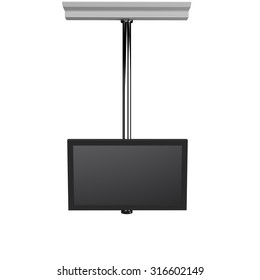 single hanging tv display from front view