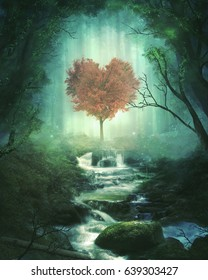 A single heart tree in the middle of the forest. 3D illustration