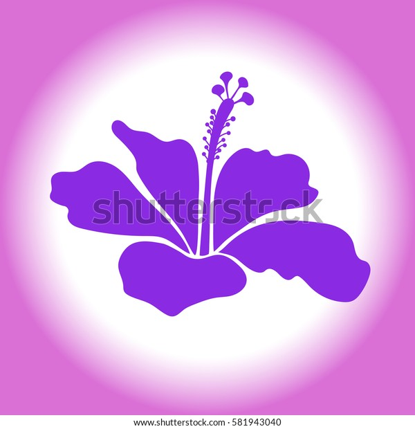 Single hibiscus flower in violet colors. Watercolor painting effect. Violet hibiscus flower isolated. Hand drawn icon.