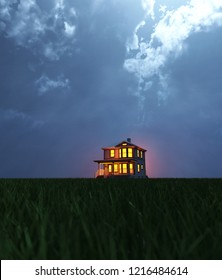 A single house on field at night,scene for scary or horror concept and ideas,3d rendering