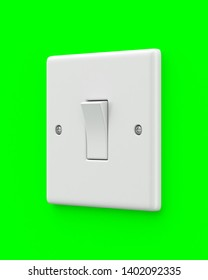 Single light switch on a green screen chroma key background. 3d render. Angled view. Green Screen Series.
