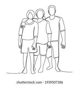 single line drawing asian family holding their children and husband. One line art happiness togetherness.