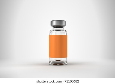 Single medical ampoule with studio light background