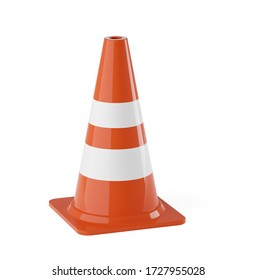 Single orange traffic warning cone or pylon on white background - under construction, maintenance or attention concept, 3D illustration