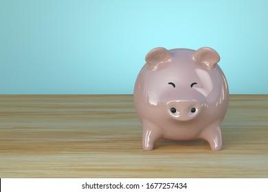Single Piggy bank 3d illustration