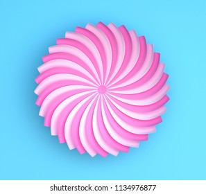 Single pink decorative flower on blue background. Paper color origami. 3d render illustration.