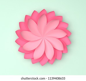 Single pink decorative flower on color background. Paper origami. 3d render illustration.
