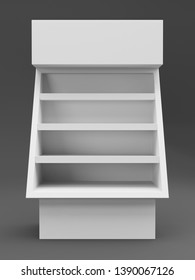 Single Product POS Stand. Blank Empty Display From Front View. 3D render