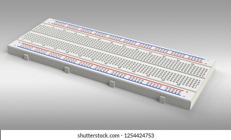Single prototyping board (breadboard). 3D rendering.