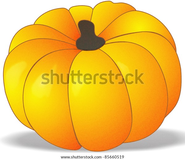 Single pumpkin with shadow isolated on white background