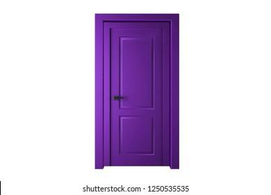 Single purple (violet) door closed - door frame only, no walls. 3D render.
