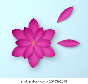 Single red decorative flower on blue background. Paper color origami lotus. 3d render illustration.