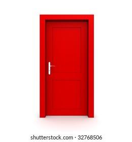 single red door closed - door frame only, no walls