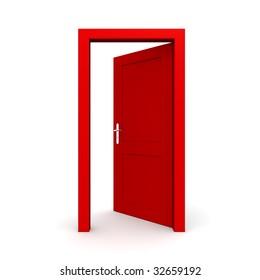 single red door open - door frame only, no walls