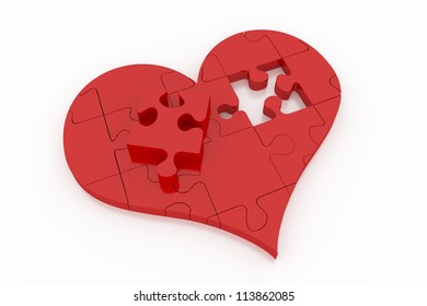 A single red piece that differs from the other red pieces of heart puzzle on white plane.