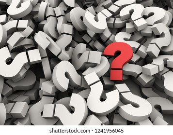 Single red question mark standing out - 3d render business concept