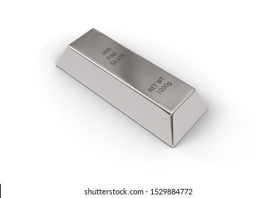 Single shiny silver ingot or bar over white background - precious metal or money investment concept, 3D illustration