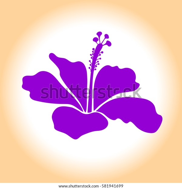 Single violet and beige hibiscus hawaiian tropical flower icon. Isolated hibiscus flower.