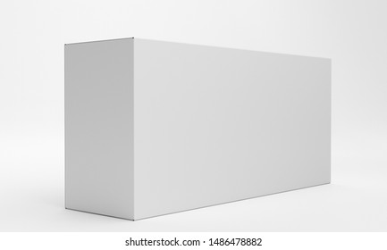 Single White Blank Box Product Isolated On Clean Background. Horizontal Wide Box. 3D render