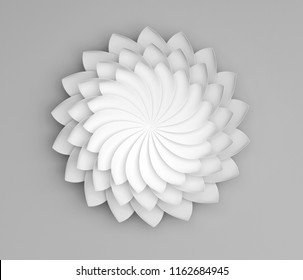 Single white decorative flower on grey background. Paper origami lily. 3d render illustration.