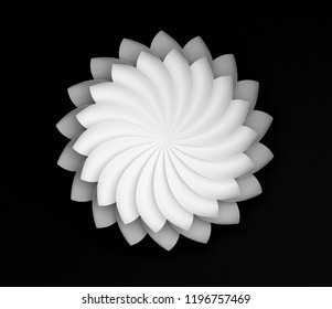 Single white decorative flower on black background. Paper origami lily. 3d render illustration.