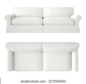 Single white fabric modern sofa isolated on blank background, top and front view, plan, above, contemporary furniture concept idea, mock-up template, 3d illustration