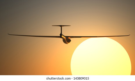 Single white glider 3d rendered on the sunset background