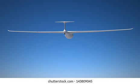 Single white glider 3d rendered on the very ckear sky