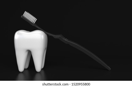 Single white tooth and black toothbrush with white bristles on a black background. Creative conceptual illustration with copy space. 3D rendering