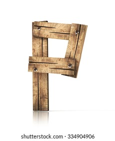 Single wooden P letter isolated on the white background. 3d illustration. wooden font.