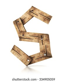 Single wooden S letter isolated on the white background. 3d illustration. wooden font.