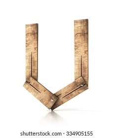 Single wooden U letter isolated on the white background. 3d illustration. wooden font.
