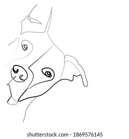 SINGLE-LINE DRAWING OF A PITBULL. This is a hand-drawn, continuous, line illustration. Each gesture sketch was created by hand.