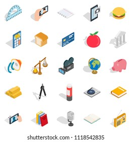 Singularity icons set. Isometric set of 25 singularity icons for web isolated on white background