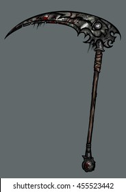 Sinister battle scythe. Illustration exotic weapon scythe in extremal design with bloody spots
