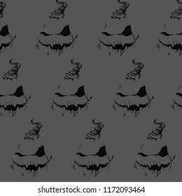 Sinister black smile on a gray background. Seamless pattern. Halloween. shame and a nightmare. pumpkin