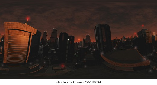 Sinister Mood Armageddon City VR 360 3D Illustration