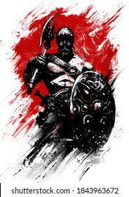 A sinister, muscular Norse warrior with a torus and shield stands proudly erect against the bloody sun. 2D illustration