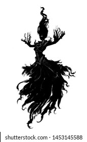 A sinister witch in a torn dress hovers in the air majestically spreading her arms ,