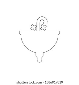Sink in the bathroom outline icon. Bathroom and sauna element icon. Premium quality graphic design. Signs, symbols collection icon for websites, web design, mobile app