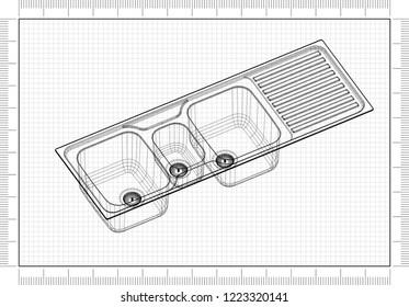 Bathroom Sink Blueprint 3 D Perspective Stock Illustration 638465521