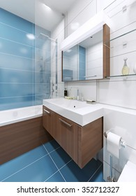 Sink console in blue bathroom with large mirror with lamp. 3D render
