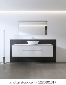 Sink vanity contemporary style. 3D rendering