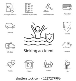 Sinking Accident Insurance icon. Simple element illustration. Sinking Accident Insurance symbol design from Insurance collection set. Can be used for web and mobile on white background