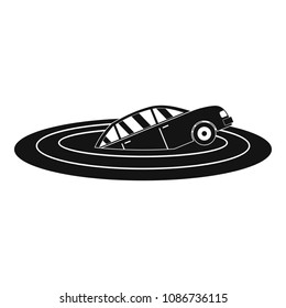 Sinking car icon. Simple illustration of sinking car icon for web