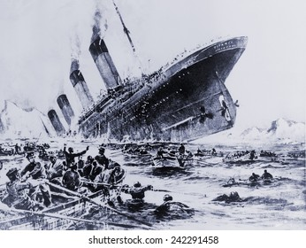 Sinking of the ocean liner the Titanic witnessed by survivors in lifeboats. May 15, 1912.