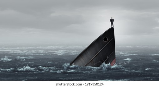 Sinking ship metaphor and failing business despair concept as a stranded businessman lost at sea as a failed corporate idea for financial crisis or being lost with 3D illustration elements.