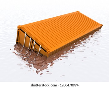 Sinking shipping container 3d rendering