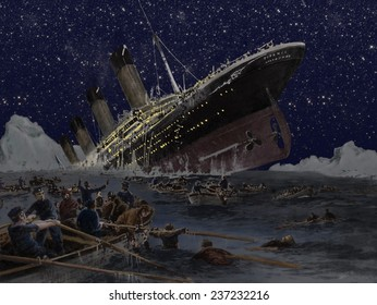 Sinking of the Titanic Illustration by German artist Willy Stower (1864-1931), 1912 watercolor with digital enhancement.